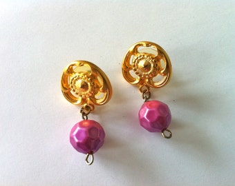 Gold Drop Pierced Earrings with Pink Hanging Bead/Gold and Pink Dangle Earrings/Vintage Gold Drop Earrings/Retro Gold Dangle Earrings/Studs