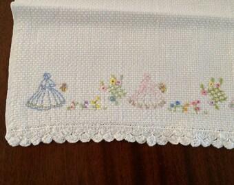 Crinoline Lady - Hand Embroidered Hand Towel