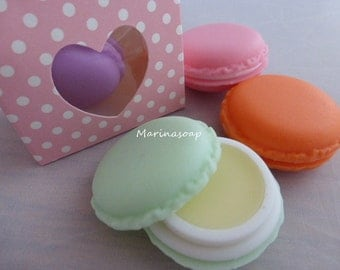 Lip balm, lip balm, almond Kiss, Macaron, gift, girlfriend, daughter,