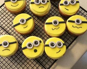 Minion, fondant, cupcake toppers