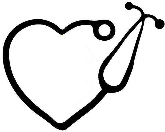 nurse stethoscope heart decal multiple colors indoor    outdoor