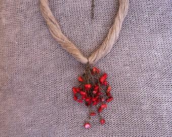 Neclace, bracelet, coral, flax, copper, women's jewelry, eco friendly, organic jewelry , Halskette, Öko-Schmuck