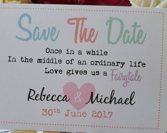 Fairytale Quote Save the Dates