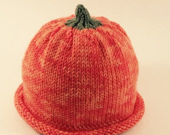 Hand Knit Baby Pumpkin Hat