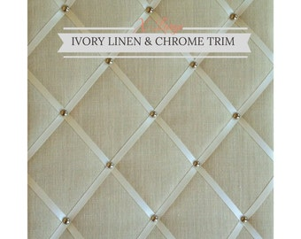 "Ivory Linen & Chrome Trim, X-Large Fabric Notice Board Hangs Portrait  60x48cm/24x18"" Pinboard,Memo Board,Message Board, Bulletin Board"