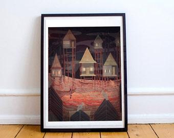 Floating Village Print