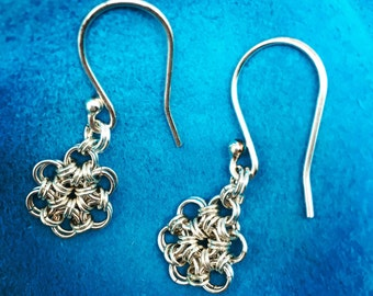 Japanese flower chainmaille earrings in sterling silver