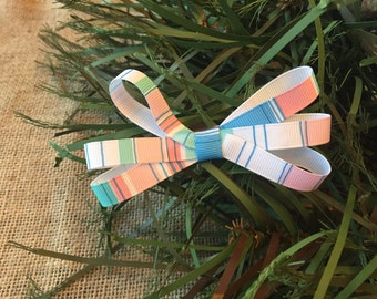 Blue Green Peach School Girl Bow