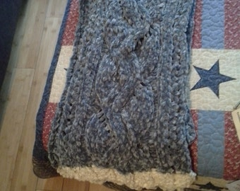 Knitted Dusty Blue Vine Scarf