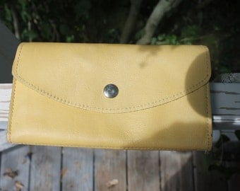 Vintage bright yellow leather wallet