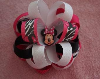 Minnie Mouse Zebra HANDMADE HAIRBOW