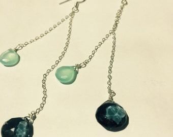 London Blue Quartz Aqua Chalcedony Earrings , December Birthstone, Drop Earrings, Gemstone Earrings