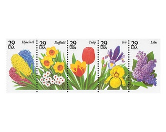 20 Spring Garden Flowers Postage Stamps - 29c - Unused Postage Stamps- 1993 - Quantity of 20 -  Iris, Tulip, Daffodil, Hyacinth and Lilac