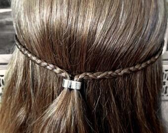Two Hole Hair Bead Kit large silver viking hair bead Celtic hair steampunk jewelry Elf boho hair bead designs hairstyles TIBETAN ALLOY