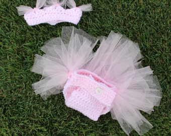 baby girl tutu set, crochet baby diaper cover set, newborn photo prop, baby girl princess, crochet tiara set, crochet tutu diaper cover set