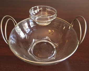 Vintage Mid Century Glass and Brass Chip and Dip Bowl Set