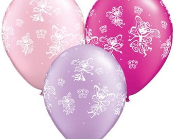 "6 x 11""  Faries and Butterflies Latex Balloons in Pastel Colours by Qualatex Children's Birthday Party"