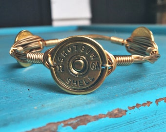 Shot Gun Shell Bangle; Antique Gold; Shot Gun Shells