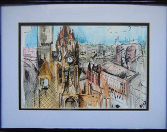 Manchester City Centre - Watercolour & Indian Ink.