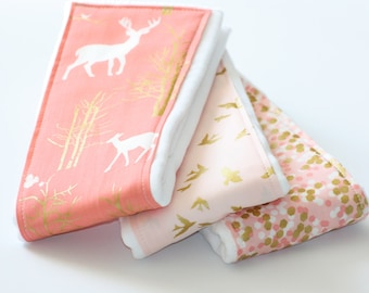 Baby Burp Cloths - Set of 3 - Brambleberry Ridge - Timber Valley, Shimmer Reflection and Flight