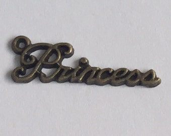 Antique Brass Princess Charms (5 pieces)