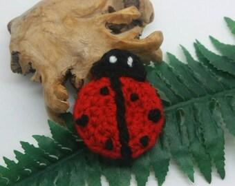 Crochet ladybug / ladybird brooch / pin