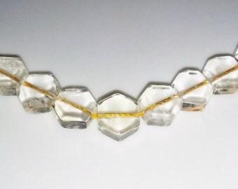 SALE! Citrine beads pale Citrine pale yellow beads 10mm hex beads 10mm stone beads semiprecious stone semiprecious beads Citrine