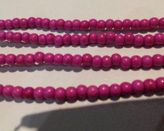 SALE! Hot pink howlite howlite beads pink howlite beads 3mm howlite beads hot pink spacer bead