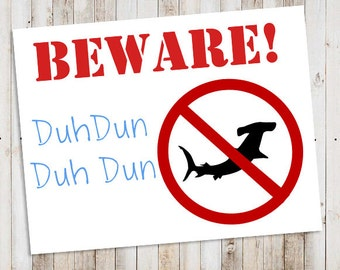 Shark Party Printable Yard Signs