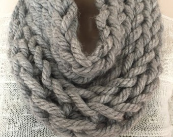 chunky neck warmer, cowl, in gray, great for winter.