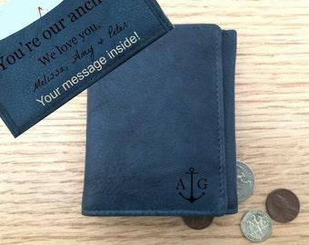 Trifold mens wallet • Personalized men's wallet • monogram wallet • custom leather mens wallet • boyfriend gift • anchor • Jeans Blue** 7730