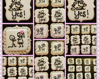 She Said Yes Engagement Decorated Sugar Cookies