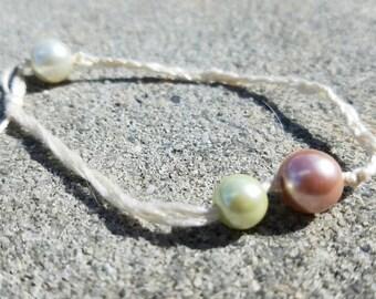Cotton Bracelet With Beads, Crochet Jewelry