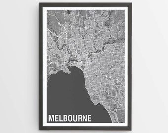 Melbourne  Map Print Various Colours - Two-tone / Victoria / Australia / City Print / Australian Maps / Giclee Print / Poster