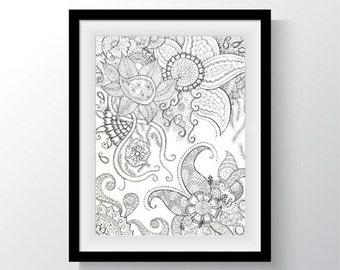 Original Doodle Drawing, Henna Abstract Ink Drawing, Original Hindu-Inspired Art