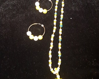 Canary yellow/ white necklace set