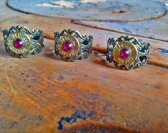Pink Swarovski Bullet Ring