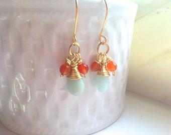 Carnelian Earrings, Orange Earrings, Amazonite earrings, gift women,gemstone earrings, gift for her,gift for mom fall gift