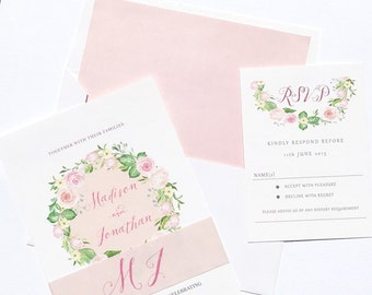 romantic roses wedding invitations suite floral wedding invitation with rose romantic peach invitations with - Blush Wedding Invitations