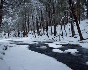 Winter Stream, nature photography, wall art