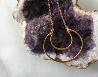 Gold Moon Pendant Necklace