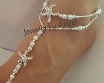 Beach wedding barefoot sandals-Bridal foot jewelry Rhinestone starfish barefoot sandals Barefoot Sandals Bridal shoes Footless sandals