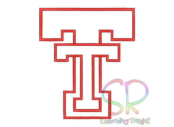 Size texas tech red raiders appliqu� embroidery designs