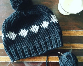 Black and grey chunky checkeres beanie