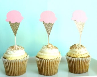 Ice Cream Cupcake Toppers - Ice Cream Party Decor - Summer Cupcake Toppers - Sweets Cupcake Toppers