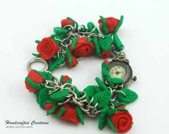 Red Rose Polymer Clay watch Charm Bracelet