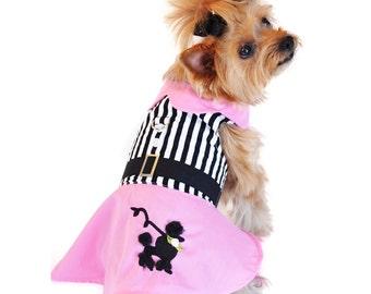 Pink Poodle Designer Dress with Harness