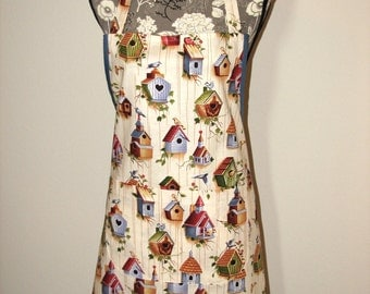 Women's Full Apron with Two Pockets in Birdhouse Print
