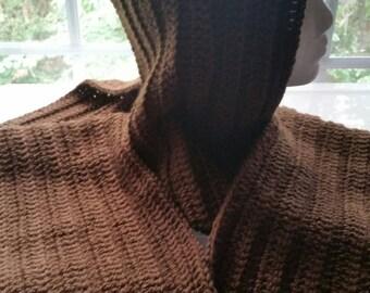 Dark brown hooded scarf