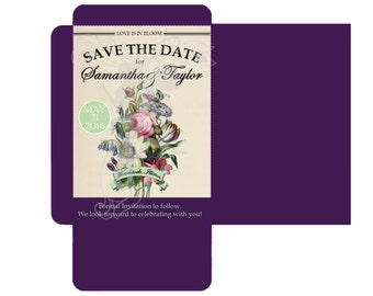 Vintage Floral Save the Date - DIY Seed Packet, Seed Pouch